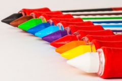 Colored markers in sequence rainbow Stock Photos
