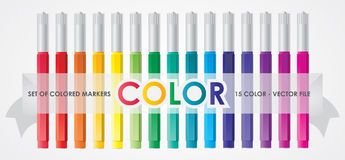 Colored Markers. Set of Vector Colored Markers Stock Photography