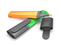 Colored markers on a white background. 3d render image Stock Photo