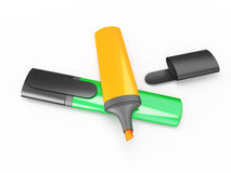 Colored markers on a white background. 3d render image Royalty Free Stock Images