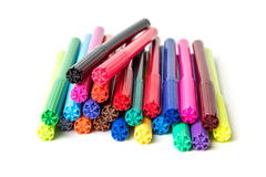 Colored markers on the white background isolate.  Royalty Free Stock Images