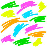 Colored markings of a highlighter pen Royalty Free Stock Photography