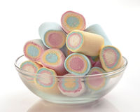 Colored marshmallows group in in glass bowl Royalty Free Stock Photo