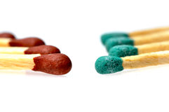 Colored matchsticks Stock Images