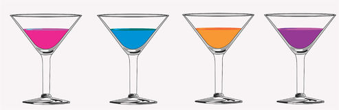 Colored Matrini Cocktails Royalty Free Stock Photo