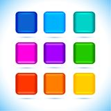Colored matted blank rounded squares buttons with color and reflection on white icons set vector illustration