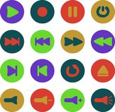 Colored media Player icons vector illustration