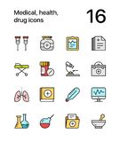 Colored Medical, health, drug icons for web and mobile design pack 2 Royalty Free Stock Photo