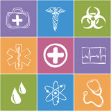 Colored medical icons Stock Photography