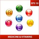 Colored Medicine Capsules Set Stock Image