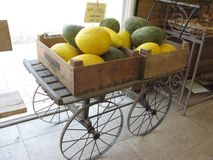 Colored melon in a wooden box in the shop. Colorful melon on a cart in the shop in France Stock Photography