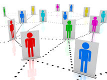 Colored men in social network map Royalty Free Stock Images