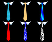 Colored mens ties. On a black background Stock Photo