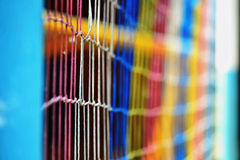 Colored mesh for beach volleyball Stock Photos