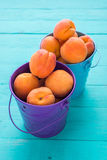 Colored metal buckets with apricots. Colored metal buckets with ripe apricots on colored wooden table stock photos
