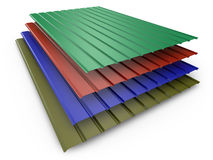 Colored metal profile sheets Stock Image