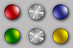 Colored and metallic buttons. Chrome, ball, website Stock Image