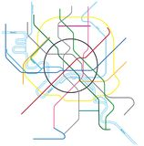 Colored metro vector map of moscow, russia.  Royalty Free Stock Photos