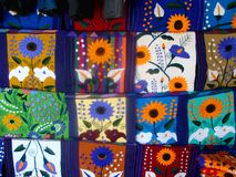 Colored Mexican Tapestry. Traditional Mexican Clothing Store in Riviera maya stock photo