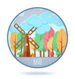 Colored mill in a circle frame. Stock Photography