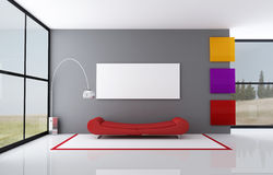 Colored minimalist living room Stock Image