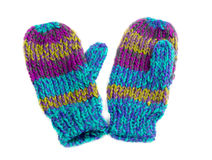 Colored mittens. Pair of colored knitted mittens. Isolate on white Royalty Free Stock Photography