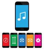 Colored mobile phone icons on white background Royalty Free Stock Photography