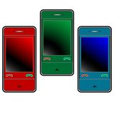 Colored mobile phones against white Royalty Free Stock Photos