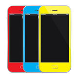 Colored Mobile Phones Vector Illustration. Vector Illustration Of Mobile Phones Stock Photography