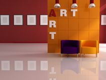 Colored modern art gallery Stock Photos