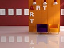 Colored modern art gallery Stock Photos