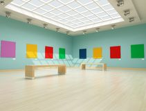 Colored modern art gallery Royalty Free Stock Images