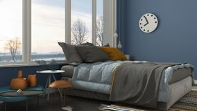 Colored modern blue bedroom with big panoramic window, sunset, s. Unrise, architecture minimalist interior design Royalty Free Stock Image