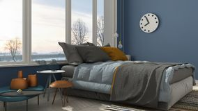 Colored modern blue bedroom with big panoramic window, sunset, s. Unrise, architecture minimalist interior design Royalty Free Stock Photo