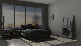 Colored modern blue and orange bedroom with big panoramic window Stock Photo