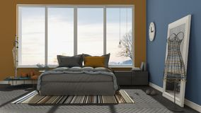 Colored modern blue and orange bedroom with big panoramic window Royalty Free Stock Photography