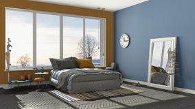 Colored modern blue and orange bedroom with big panoramic window Royalty Free Stock Image
