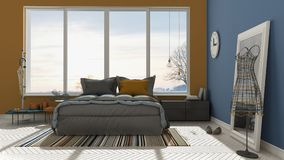 Colored modern blue and orange bedroom with big panoramic window Stock Photos