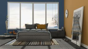 Colored modern blue and orange bedroom with big panoramic window Stock Photography
