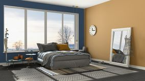 Colored modern blue and orange bedroom with big panoramic window Royalty Free Stock Images