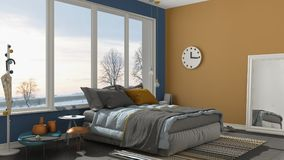 Colored modern blue and yellow bedroom with big panoramic window Royalty Free Stock Photo