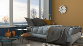 Colored modern blue and yellow bedroom with big panoramic window Royalty Free Stock Images