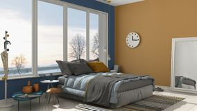 Colored modern blue and yellow bedroom with big panoramic window Stock Image