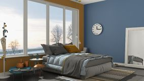 Colored modern blue and yellow bedroom with big panoramic window Stock Photography