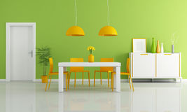 Colored modern dining room. Contemporary dining room with white table and orange chairs - rendering Royalty Free Stock Images