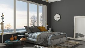 Colored modern gray bedroom with big panoramic window, sunset, s Stock Image