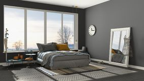 Colored modern gray bedroom with big panoramic window, sunset, s Royalty Free Stock Image