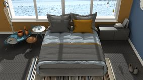 Colored modern gray and blue bedroom with big panoramic window, Stock Photography