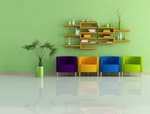Colored modern interior Stock Photos