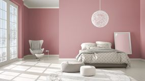 Colored modern pink and beige bedroom with wooden parquet floor, panoramic window on winter landscape, carpet, armchair and bed. With blanket and pillows royalty free illustration